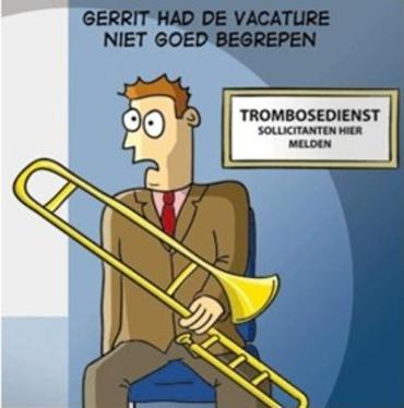 Cartoon vacature trombosedienst